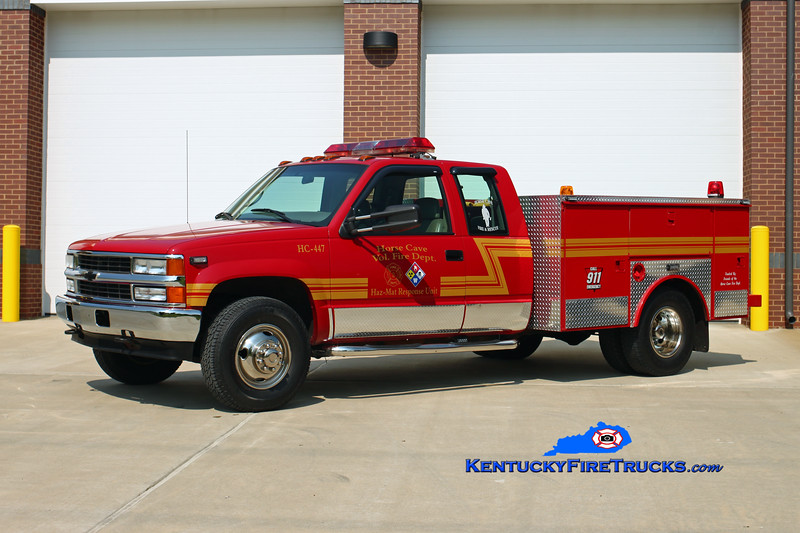 "Horse Cave  Unit 447<br /> 1997 Chevy 2500/Local <br /> Hazmat Unit/Hose Wagon - 1500' of 5"" <br /> Kent Parrish photo"