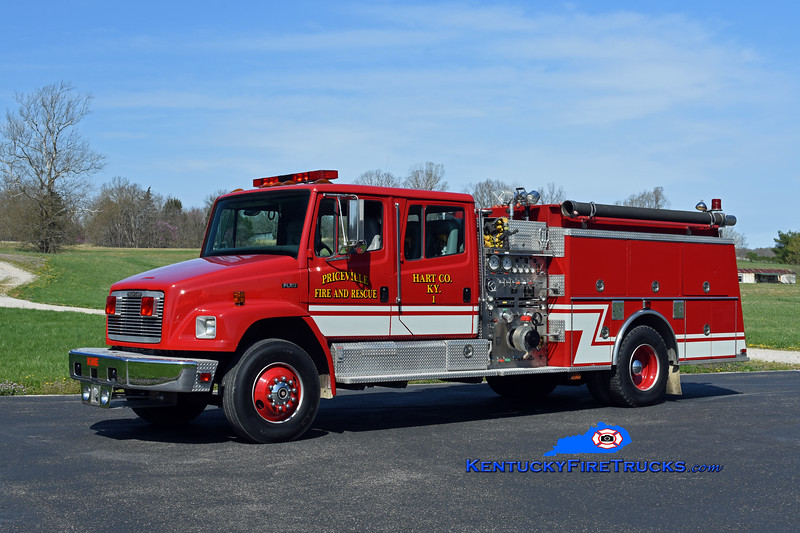 Priceville  Engine 1<br /> x-Whitesville, KY<br /> 1993 Freightliner FL80/KME 1250/1000/30<br /> Kent Parrish photo