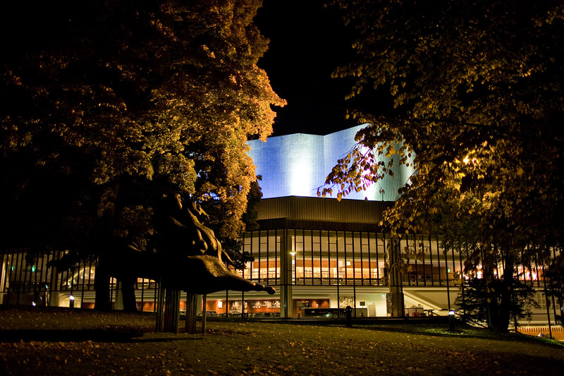 Helsinki City Theatre by night, Helsinki, Finland