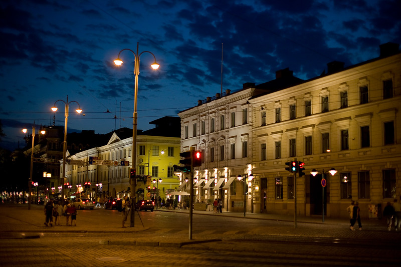 Esplanadi by night, Helsinki, Finland