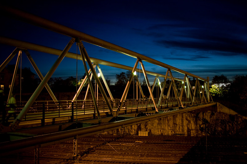 Linnunlaulu bridge by night, Helsinki, Finland