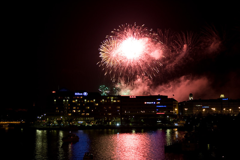 Hakaniemi by night and fireworks, Helsinki, Finland