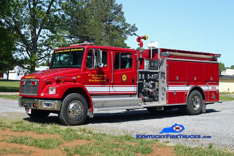 <center> Corydon  Pumper 554  <br> x-Scioto Twp, OH <br> 1995 Freightliner FL80/Pierce 1250/1250 <br> Kent Parrish photo </center>