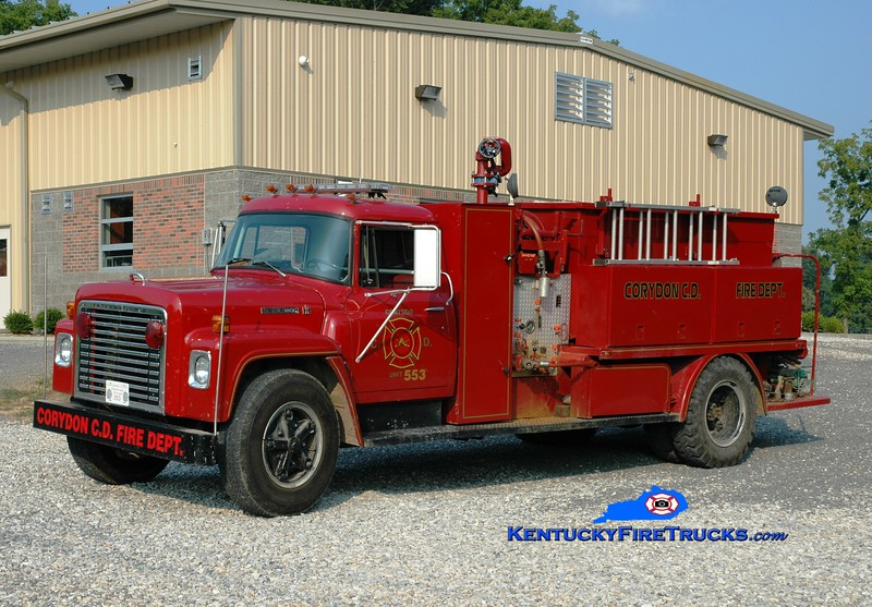 <center> Corydon  Tanker 553  <br> 1977 International Loadstar/1964 Local body 500/1100 <br> Greg Stapleton photo </center>