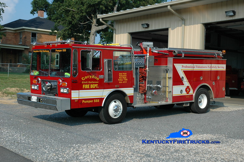 <center> Corydon  Pumper 555  <br> x-German Twp, IN <br> 1985 Hendrickson/FMC/RPI 1250/1250 <br> Greg Stapleton photo </center>