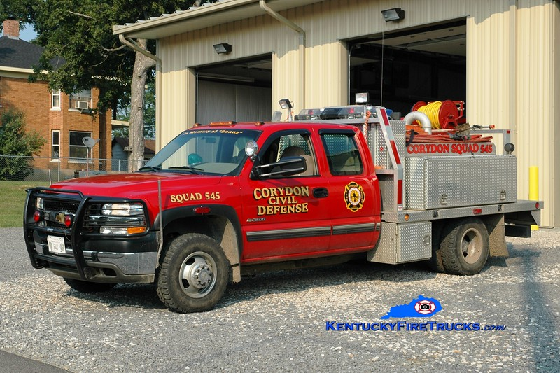<center> Corydon  Squad 545  <br> 2002 Chevy 3500 4x4/Local 250/300 <br> Greg Stapleton photo </center>