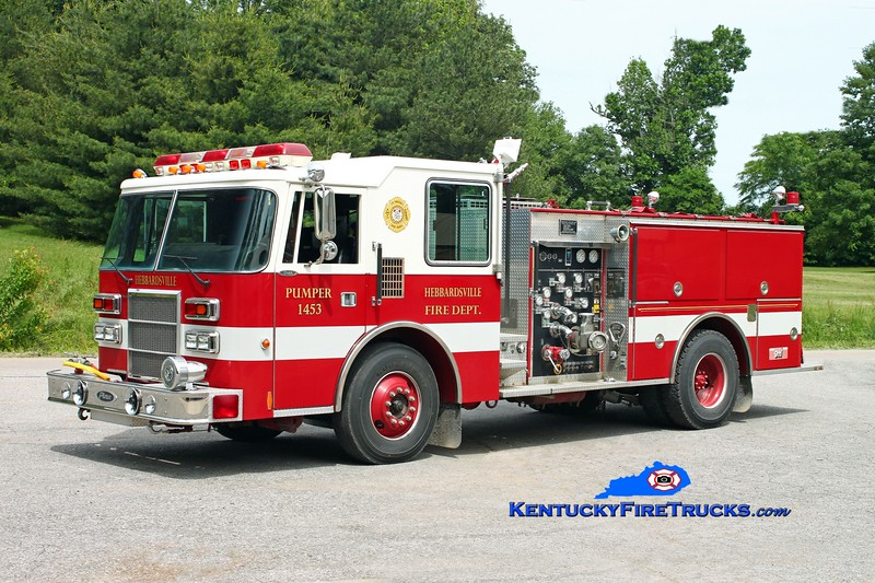 <center> Hebbardsville  Pumper 1453  <br> x-Henderson, KY <br> 1992 Pierce Dash 1250/500 <br> Kent Parrish photo </center>