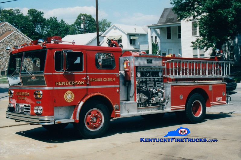 <center> RETIRED <br> Henderson  Engine 6  <br> 1970 Ward LaFrance/1986 Pierce 1500/500 <br> Greg Stapleton photo </center>