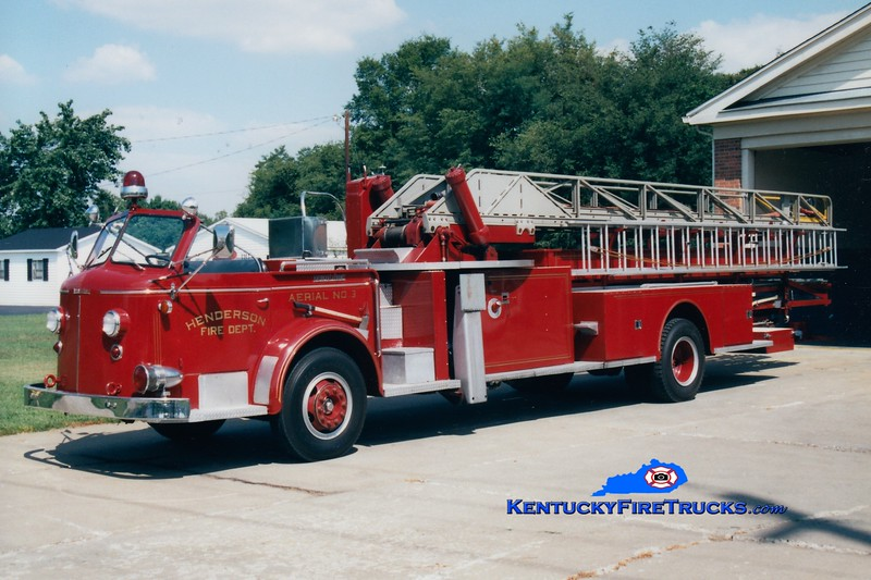 <center> RETIRED <br> Henderson  Ladder 3  <br> 1958 American LaFrance 700 Series 85' <br> Greg Stapleton photo </center>