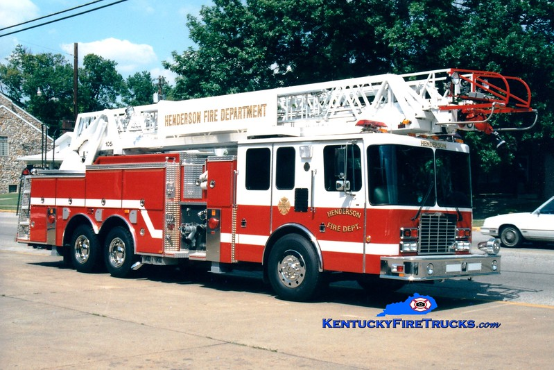 <center> RETIRED <br> Henderson  Ladder 1  <br> 1996 HME/Smeal 1500/300/105' <br> Greg Stapleton photo </center>