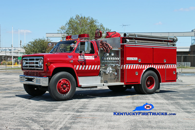 <center> Rio Tinto Alcan Sebree Works  Engine 707 <br> Formerly Alcan Aluminum <br> 1988 GMC 7000/E-One  1000/750 <br> Kent Parrish photo <br> </center>