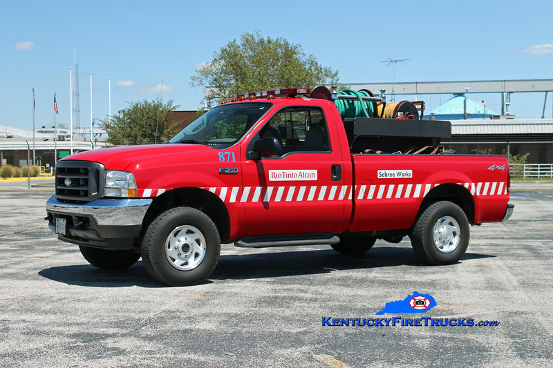 <center> Rio Tinto Alcan Sebree Works  Brush 871  <br> Formerly Alcan Aluminum <br> 2003 Ford F-350 4x4 250/250 <br> Kent Parrish photo <br> </center>