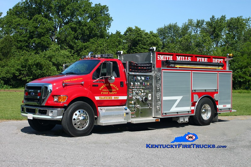 <center> Smith Mills  Tanker 660  <br> 2010 Ford F-750/Bluegrass  1250/2000/30 <br> Kent Parrish photo </center>