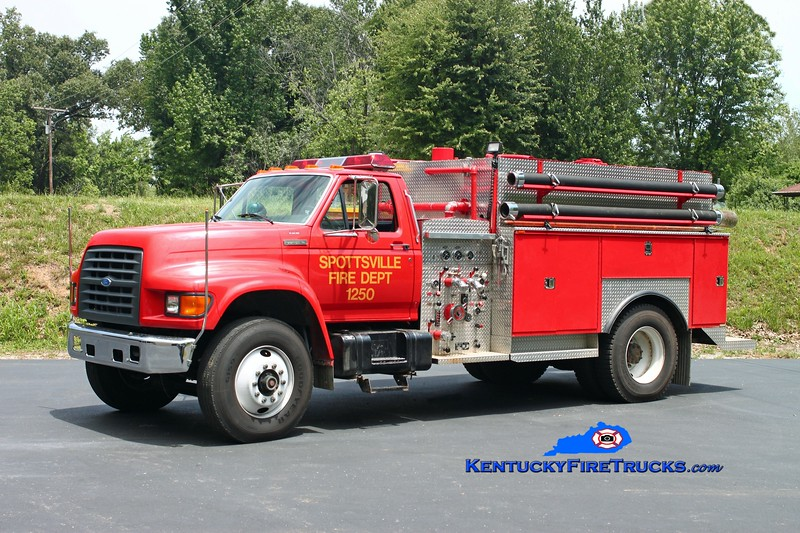 <center> RETIRED <br> Spottsville  Engine 1250 <br> 1998 Ford F-750/Local/SFD 1000/1000 <br> Kent Parrish photo </center>