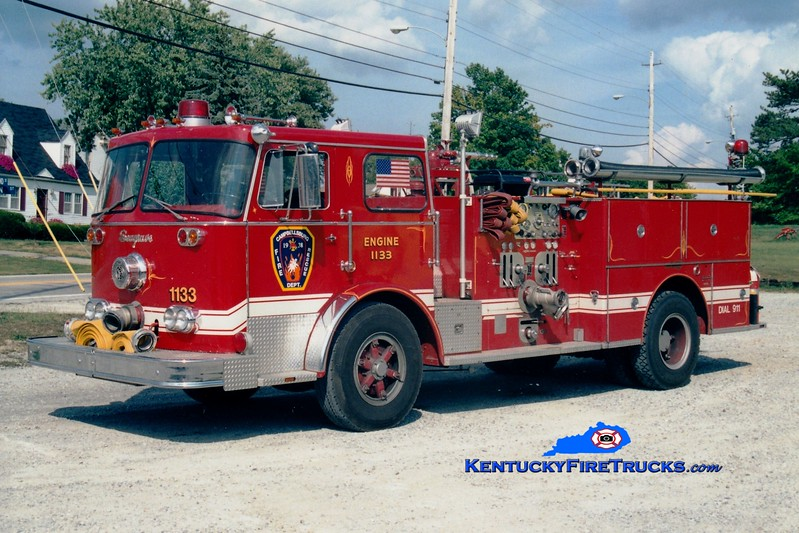 <center> RETIRED <br> Campbellsburg   Engine 1133  <br> x-LaGrange, KY <br> 1975 Seagrave PB 1000/500 <br> Greg Stapleton photo </center>