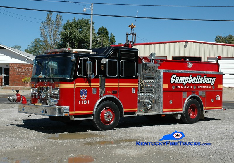 <center> Campbellsburg  Engine 1131 <br> x-Middletown, KY  <br> 1994 KME Renegade 1500/500 <br> Greg Stapleton photo </center>