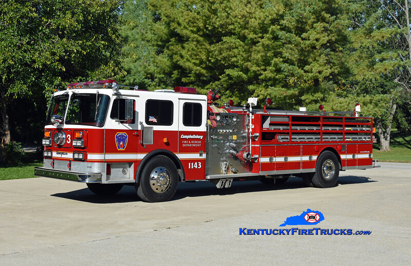 Campbellsburg Quad 1143<br /> x-Chattanooga, TN & Camp Taylor, KY<br /> 1982 Seagrave/1999 RPI 1500/500<br /> Kent Parrish photo