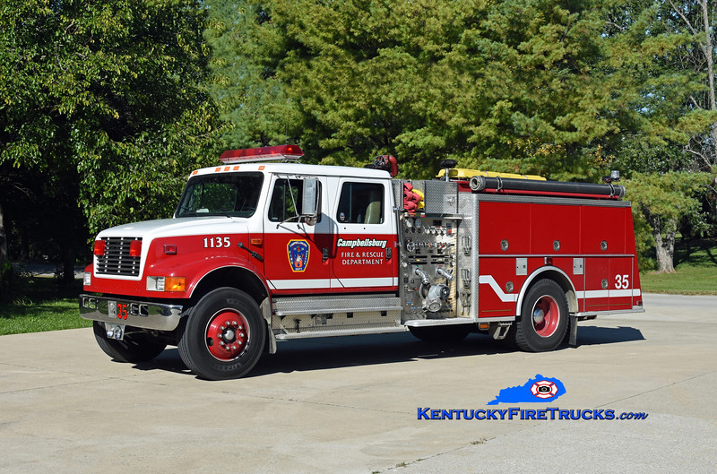 Campbellsburg Engine 1135<br /> x-Eastwood, KY<br /> 1992 International 4900/KME 1250/750/100<br /> Kent Parrish photo