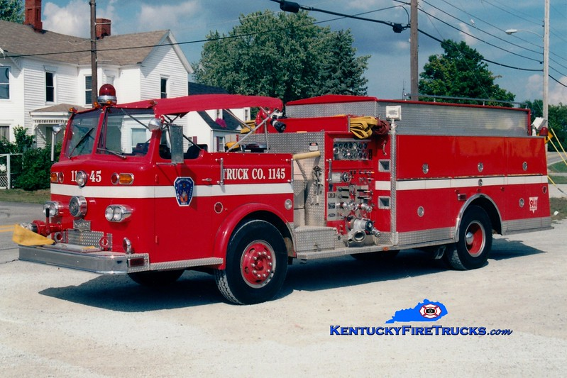 <center> RETIRED <br> Campbellsburg   Quad 1145  <br> x-Middletown, KY  <br> 1964 Ford/Pirsch 1000/600 <br> *Yes...a Pirsch custom on a Ford chassis! <br> Greg Stapleton photo </center>
