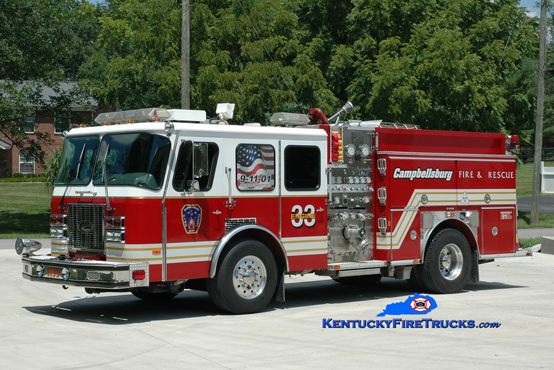 <center> RETIRED <br> Campbellsburg  Engine 1133  <br> x-Worthington (Jefferson County), KY <br> 1995 E-One Cyclone TC 1250/750/30 <br> Greg Stapleton photo </center>