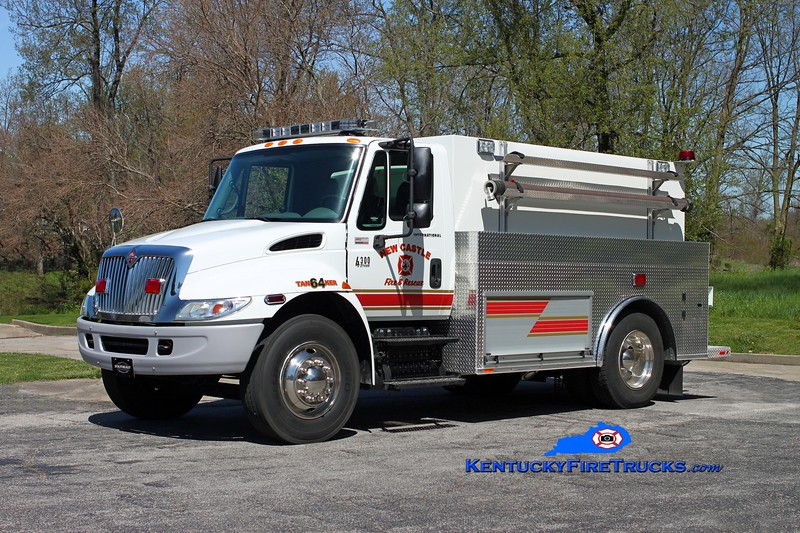 <center> New Castle  Tanker 3364  <br> 2006 International 4300/2013 Southeast 500/1800 <br> Kent Parrish photo </center>
