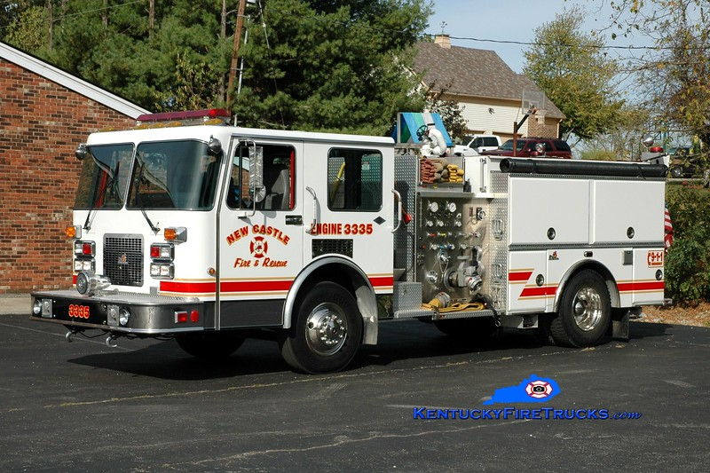 <center> New Castle  Engine 3335 <br> x-Highland Heights, KY  <br> 1992 Spartan Diamond/Ferrara 1250/750 <br> Greg Stapleton photo </center>