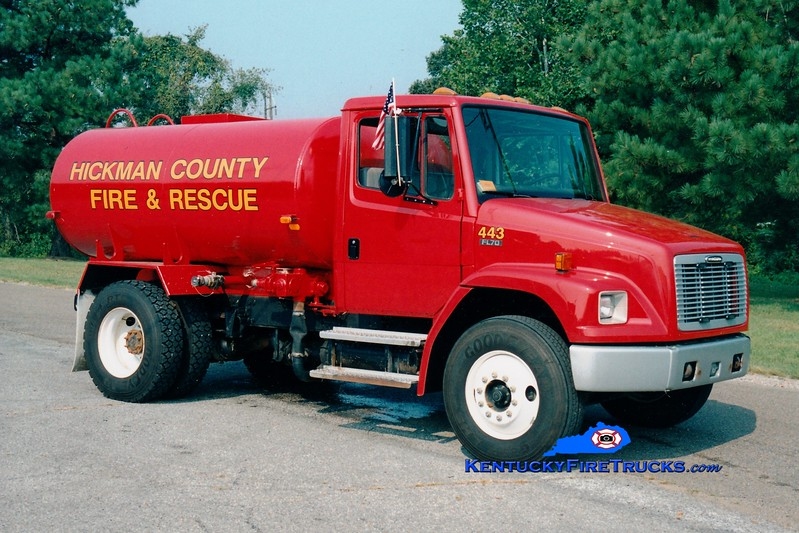<center> Hickman County  Tanker 443  <br> 2000 Freightliner FL70/Ledwell/FD 250/2000 <br> Greg Stapleton photo </center>
