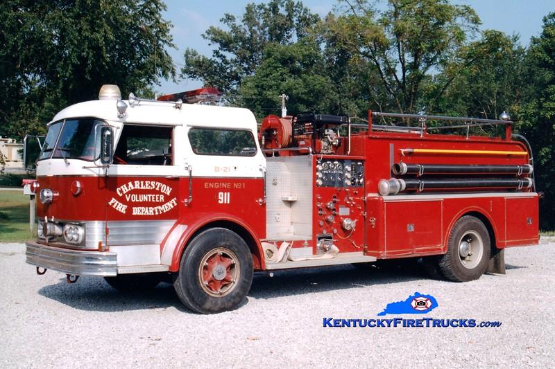 <center> RETIRED <br> Charleston  Engine 1 <br> x-East Lyme, CT <br> 1965 Mack C 750/1000  <br> Greg Stapleton photo </center>