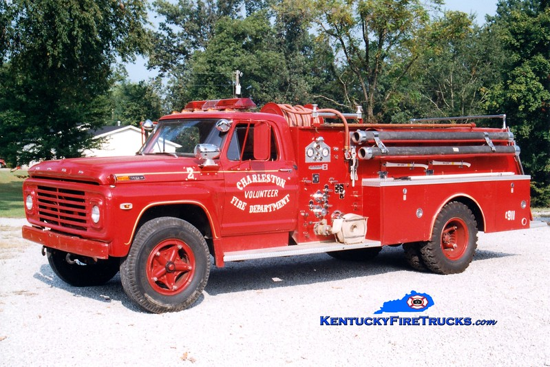 <center> RETIRED <br> Charleston  Engine 2 <br> x-Dawson Springs, KY <br> 1969 Ford F/Boardman 750/500  <br> Greg Stapleton photo </center>