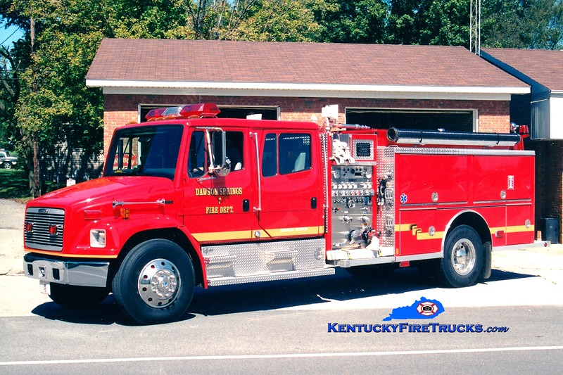 <center> Dawson Springs  Engine 7 <br> 1997 Freightliner FL80/Central States 1250/1000 <br> Greg Stapleton photo </center>