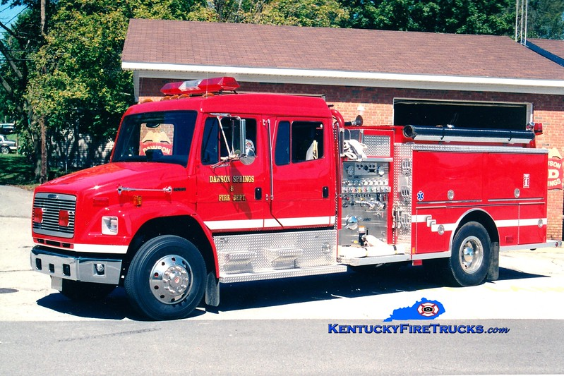 <center> Dawson Springs  Engine 8 <br> 1999 Freightliner FL80/Central States 1250/1000 <br> Greg Stapleton photo </center>