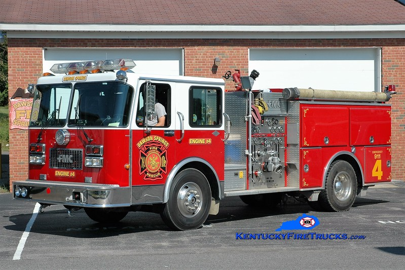 Dawson Springs  Engine 4<br /> x-Marrs Twp, IN<br /> 1990 Spartan/FMC 1250/1000<br /> Greg Stapleton photo