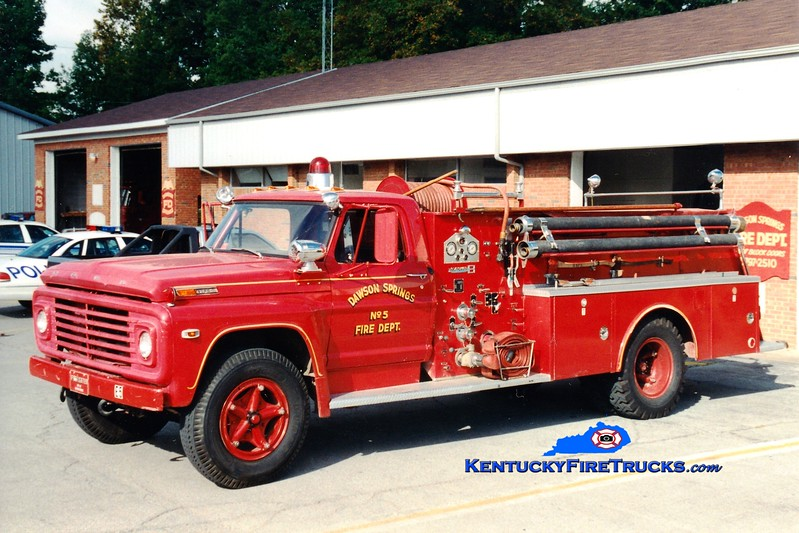 <center> RETIRED <br> Dawson Springs  Engine 5 <br> 1969 Ford F/Boardman 750/500 <br> Greg Stapleton photo </center>