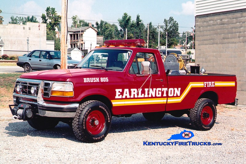 <center> RETIRED <br> Earlington  Brush 805 <br> 1995 Ford F-350 4x4/EFD 250/250 <br> Greg Stapleton photo </center>