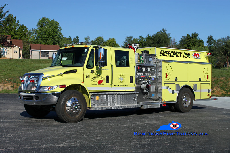 <center> Hanson  Engine 1 <br> 2003 International 4400/Central States 1500/1000/20 <br> Kent Parrish photo <br> </center>