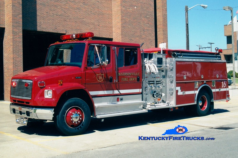<center> Madisonville  Engine 16  <br> 2000 Freightliner FL80/KME 1250/750 <br> Greg Stapleton photo </center>