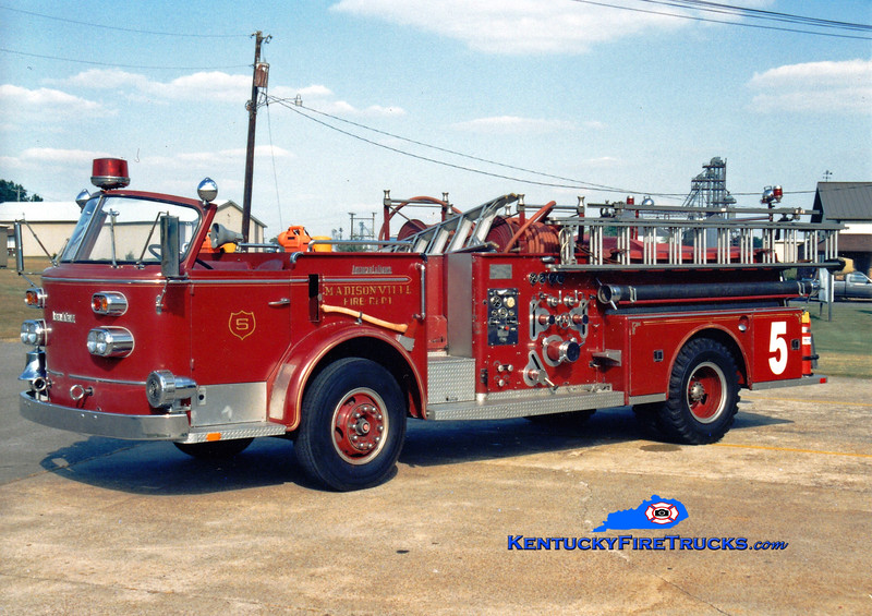 <center> RETIRED <br> Madisonville  Engine 5 <br> 1963 American LaFrance 900 Series 1000/500 <br> Greg Stapleton photo </center>