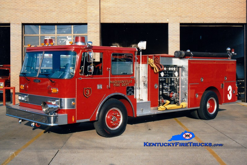 <center> RETIRED <br> Madisonville  Engine  3<br> 1987 Pierce Arrow 1500/500 <br> Greg Stapleton photo </center>