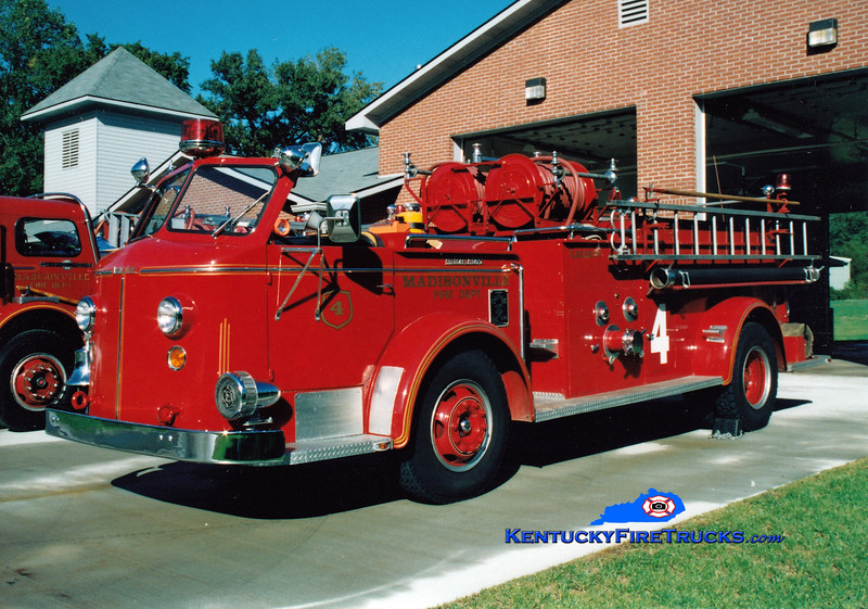 <center> RETIRED <br> Madisonville  Engine 4 <br> 1956 American LaFrance 700 Series 750/300 <br> Greg Stapleton photo </center>