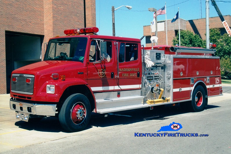 <center> Madisonville  Engine 15  <br> 2001 Freightliner FL80/KME 1250/750 <br> Greg Stapleton photo </center>