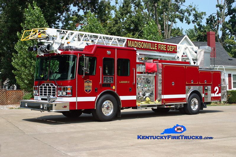 <center> Madisonville  Ladder 2 <br> 2010 HME/Ferrara Ember 1500/500/20/77' <br> Kent Parrish photo </center>