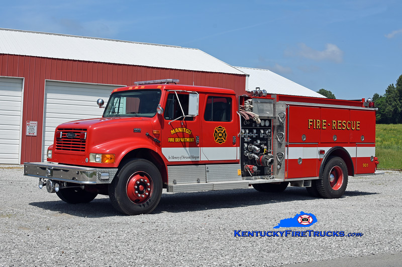 Manitou  Engine 901<br /> x-Millersport, OH<br /> 1995 International 4900/Pierce 1250/1000<br /> Kent Parrish photo