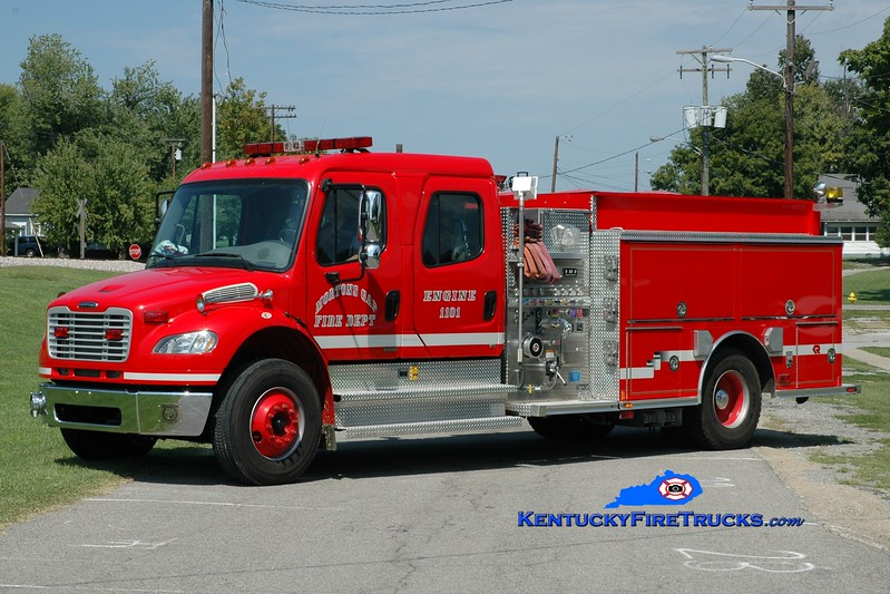 <center> Mortons Gap  Engine 1101 <br> 2004 Freightliner M2-106/Rosenbauer-Central 1500/1000 <br> Greg Stapleton photo </center>