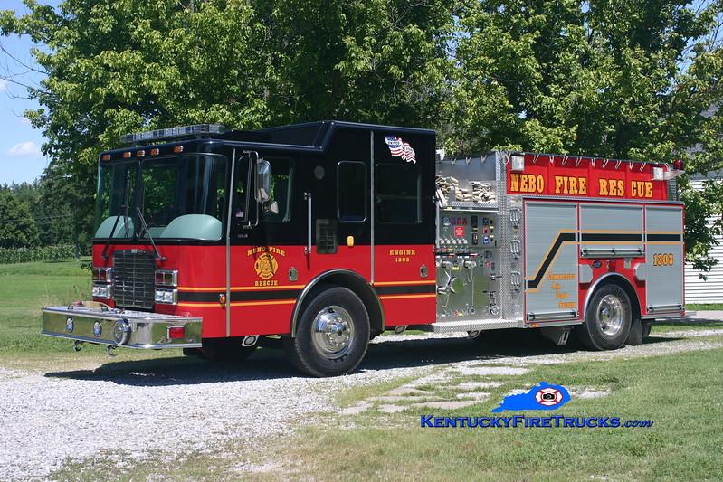 <center> Nebo  Engine 1303 <br> 2006 HME 1871 SLE P2/Bluegrass 1500/1500/CAFS-30 <br> Kent Parrish photo </center>