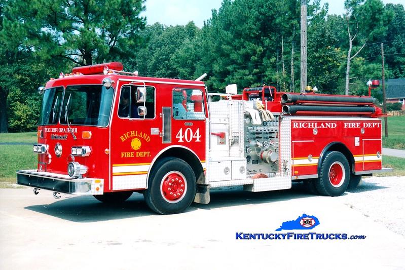 <center> RETIRED <br> Richland  Engine 404 <br> 1986 Duplex D-350/Thibault 1250/1000 <br> Greg Stapleton photo </center>