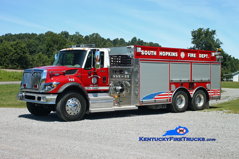 <center> RETIRED <br> South Hopkins  Tanker 702 <br> 2008 International 7500/Bluegrass  750/3000 <br> Kent Parrish photo </center>