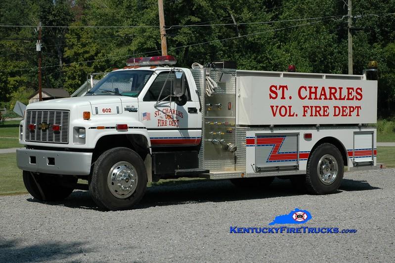 <center> St. Charles Tanker 602 <br> 1990 Chevy Kodiak/Helton Metal Works 450/1700 <br> Greg Stapleton photo </center>
