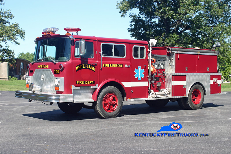 <center> RETIRED <br> White Plains  Engine 102 <br> x-FDNY <br> 1980 Mack CF 611F/Panama Fire 1000/1000 <br> Kent Parrish photo </center>