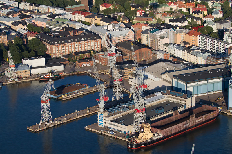 Hietalahti dockyard from the air, Helsinki, Finland