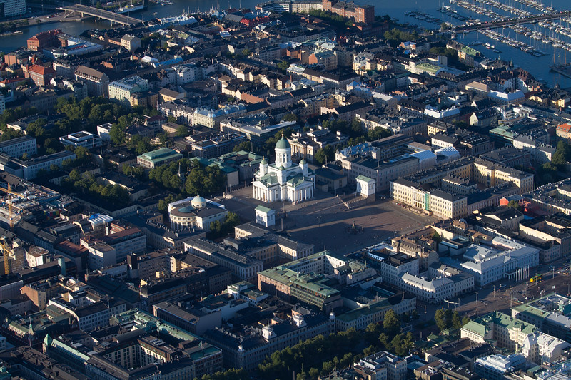Helsinki Cathedral from the air, Helsinki, Finland